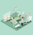 isometric interior of operating room with vector image
