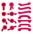 set of pink stamps and ribbons vector image