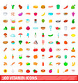 100 vitamin icons set cartoon style vector image vector image