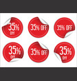35 percent off red paper sale stickers vector image vector image