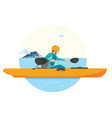 a man doing kayaking on his vacation in the lake vector image vector image