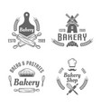 bakery and pastries black isolated emblems vector image