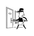 black and white cartoon of thief vector image vector image