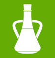 bottle with olive oil icon green vector image