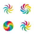 Bright colors rainbow flower logo set vector image vector image