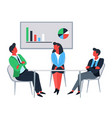 business office workers at table and financial vector image