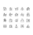 cabinet line icons signs set outline vector image vector image