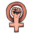 cartoon image of feminism symbol vector image