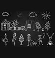 children s drawings in chalk on the board girls vector image