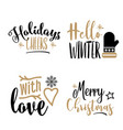 christmas calligraphy set isolated on white vector image