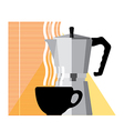 Coffee cup and coffee machine vector image vector image
