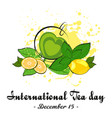 cup of tea with lemon and mint vector image