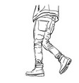 drawing mans legs in tight jeans and boots vector image