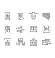 exhibition rooms black line icons set vector image vector image