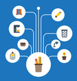 flat icons bookshop trash basket desk light and vector image vector image