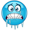 freezing emoticon vector image vector image