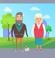 grandfather grandmother walk dog city park vector image vector image