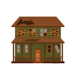 green house with destroyed roof and boarded-up vector image vector image