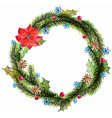 green watercolor christmas wreath with decorations vector image vector image