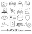 hacker and computer security theme outline icons vector image vector image