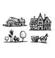 ink sketches set rural scenes vector image
