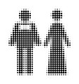 just married persons halftone dotted icon vector image vector image