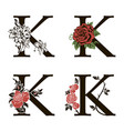 letters k with flowers bouquet vector image vector image