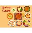 Mexican cuisine meat and fish dishes icon vector image vector image