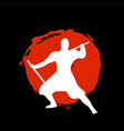 ninja warrior silhouette on red moon and black vector image vector image