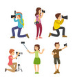 photographer taking pictures with different poses vector image vector image