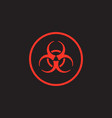 red biohazard symbol on black background vector image