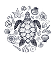 Sea turtle and shells in line art style Hand drawn vector image vector image