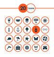 season icons set with swimsuits suitcase anchor vector image