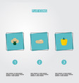 set of berry icons flat style symbols with potato vector image