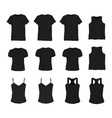 set of different realistic black t-shirt for man vector image vector image