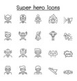 set super hero related line icons contains vector image vector image