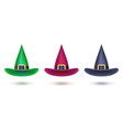 set witch hat colored design elements vector image