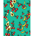 Stylish background avocado banana and cherry vector image
