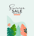 summer sale background with tropical leaves vector image vector image