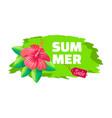 summer sale emblem exotic pink flower brush stroke vector image