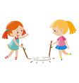 two girls drawing sun on floor vector image vector image