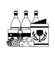 wine bottles wooden basket menu cheese grapes vector image
