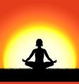 yoga lotus pose black silhouette on sunset vector image vector image