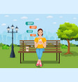 young woman with gadgets in summer park vector image vector image