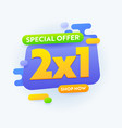 2x1 special offer sale banner advertising half vector image vector image