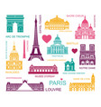 architectural and historical sights paris set vector image vector image