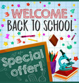 back to school sale special offer poster design vector image vector image