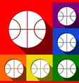 basketball ball sign set of vector image vector image