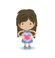 beautiful girl embraces the heart on a background vector image
