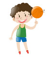 boy spinning basketball on finger vector image
